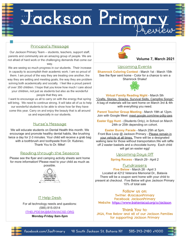 Jackson Primary's March Newsletter